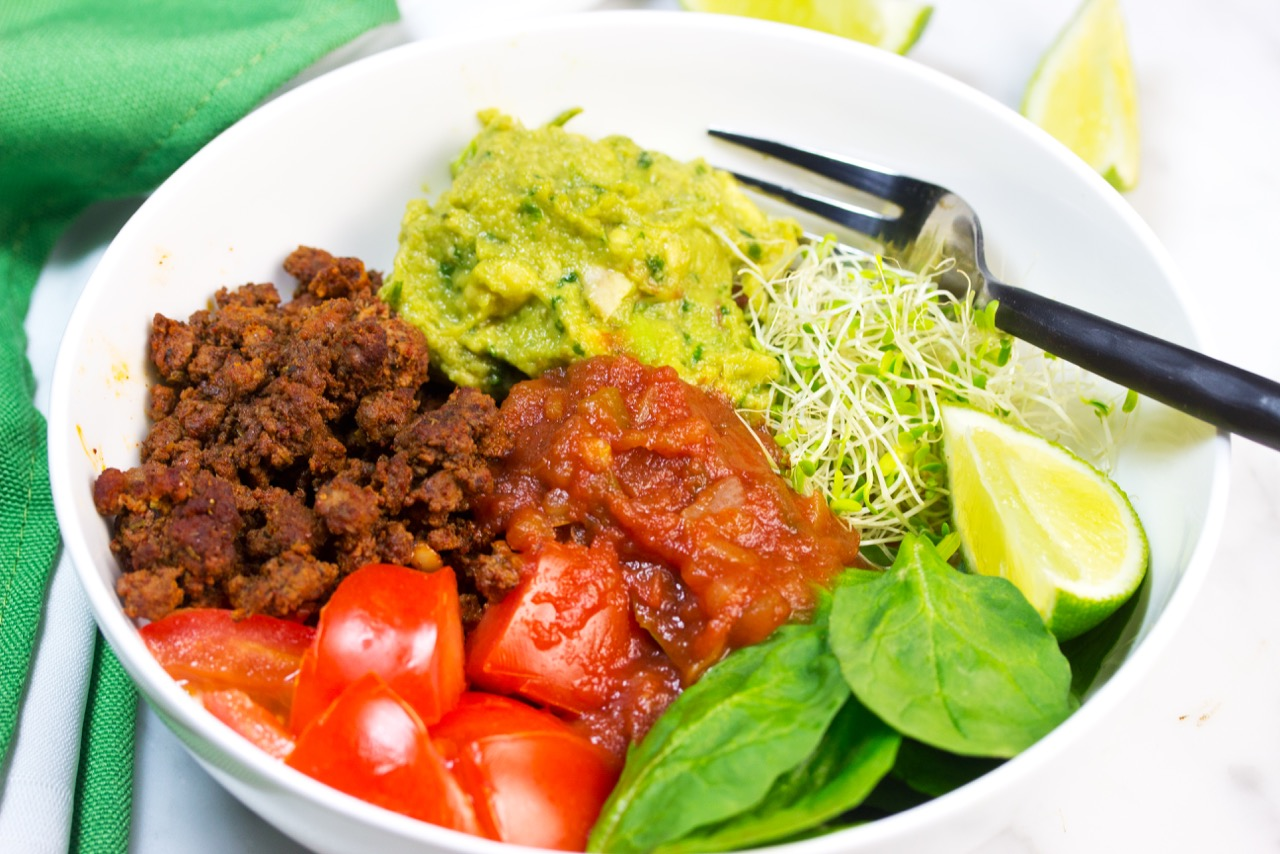 Taco Bowls | Healthy Low Carb | Homemade Ingredients | Ground Beef Taco Bowl | Easy guacamole recipe | Gluten Free Recipe | Paleo Recipe | Whole 30 | Keto